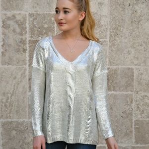 Sweaters - METALLIC SHEEN CABLE KNIT SWEATER